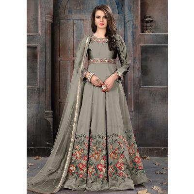 Grey color Anarkali Suits-Silk Salwar Kameez