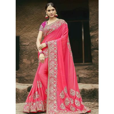 Orange color Designer Saree-Chiffon Embroidered Saree