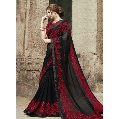 Black color Designer Saree-Georgette Embroidered Saree