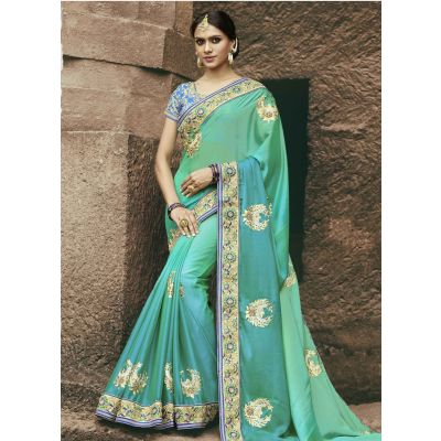 Green color Designer Saree-Chiffon Embroidered Saree