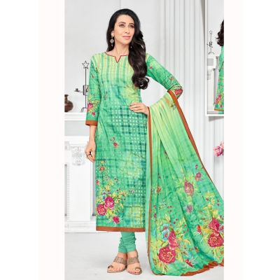 Green color Casual Salwar Kameez-Cotton Salwar Kameez