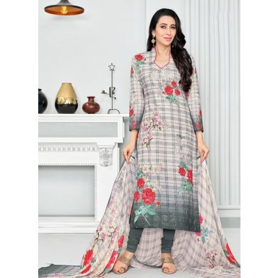 Off White and Green color Casual Salwar Kameez-Cotton Salwar Kameez