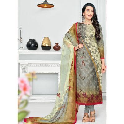 Grey and Red color Casual Salwar Kameez-Cotton Salwar Kameez