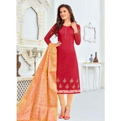 Red color Straight Suits-Cotton Salwar Kameez