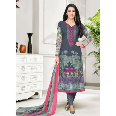 Grey color Casual Salwar Kameez-Cotton Salwar Kameez