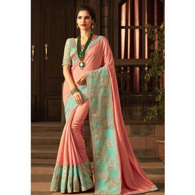 Pink color Designer Saree-Silk Embroidered Saree