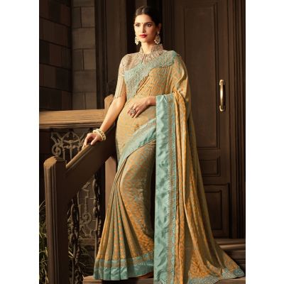 Multicoloured color Designer Saree-Silk Embroidered Saree