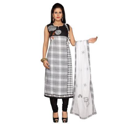 Black and White color Party Wear Rmd Salwar-Cotton Salwar Kameez