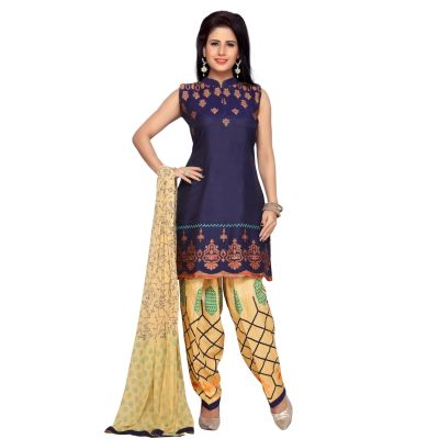Multicoloured color Party Wear Rmd Salwar-Silk Salwar Kameez