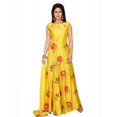 Yellow color Party Wear Rmd Salwar-Silk Salwar Kameez