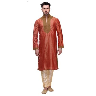 Orange color Kurta Churidar-Silk Men`S Wear