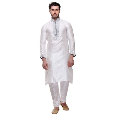 Off White color Kurta Churidar-Brocade Men`S Wear