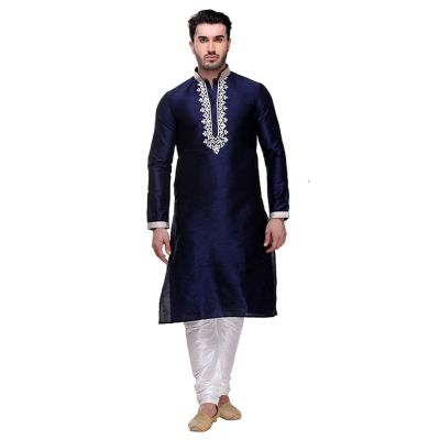 Blue color Kurta Churidar-Silk Men`S Wear