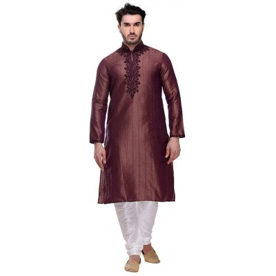 Brown color Kurta Churidar-Silk Men`S Wear