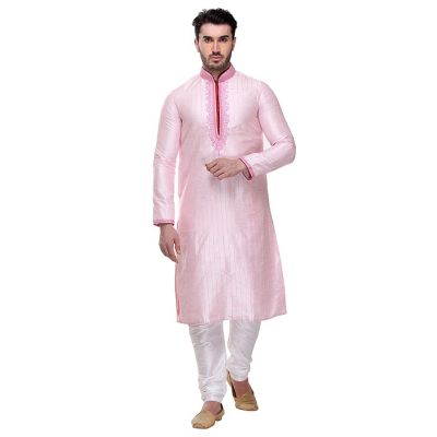 Pink color Kurta Churidar-Silk Men`S Wear