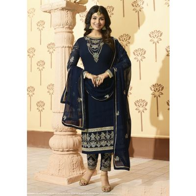 Blue color Designer-Georgette Salwar Kameez