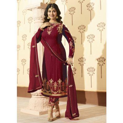 Maroon color Designer-Georgette Salwar Kameez