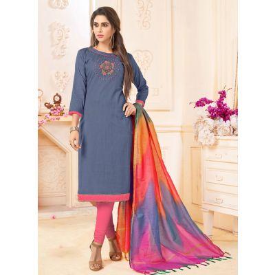 Grey color Casual Salwar Kameez-Cotton Salwar Kameez