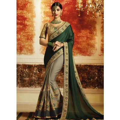 Green and Grey color Designer Saree-Georgette Embroidered Saree