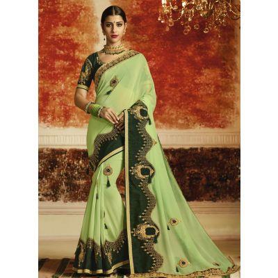 Green color Designer Saree-Georgette Embroidered Saree