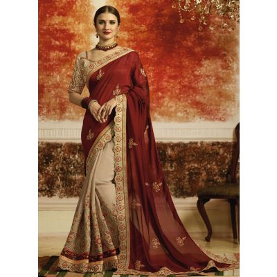 Maroon and Off White color Designer Saree-Silk Embroidered Saree