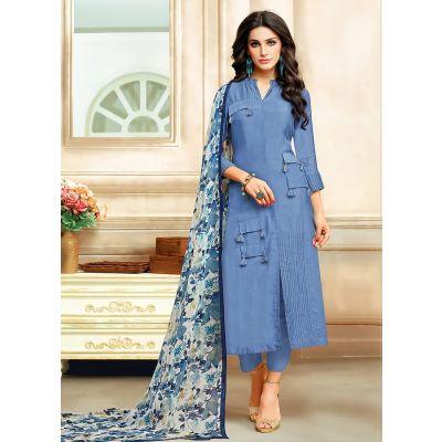 Blue color Straight Suits-Cotton Salwar Kameez