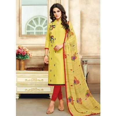 Yellow color Straight Suits-Cotton Salwar Kameez