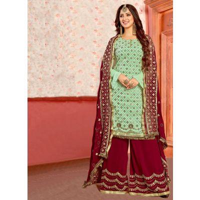Green color Patti Work-Georgette Salwar Kameez