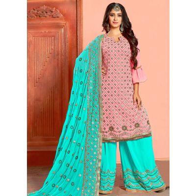 Pink color Patti Work-Georgette Salwar Kameez