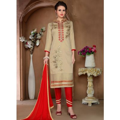 Womens Salwar Kameez Beige Color Straight Suits