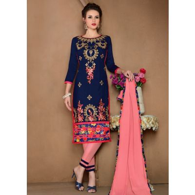 Womens Salwar Kameez Blue Color Straight Suits