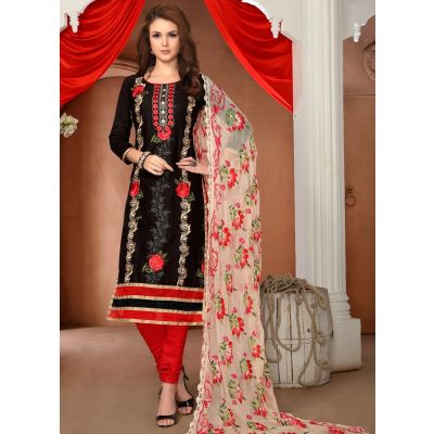Womens Salwar Kameez Black  Color Straight Suits