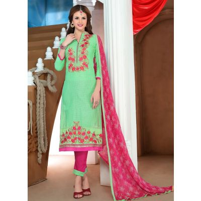 Womens Salwar Kameez Green  Color Straight Suits