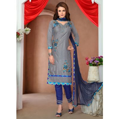 Womens Salwar Kameez Grey Color Straight Suits