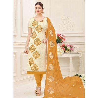 Off White color Casual Salwar Kameez-Jacquard Salwar Kameez