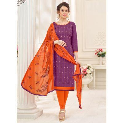Purple color Casual Salwar Kameez-Jacquard Salwar Kameez