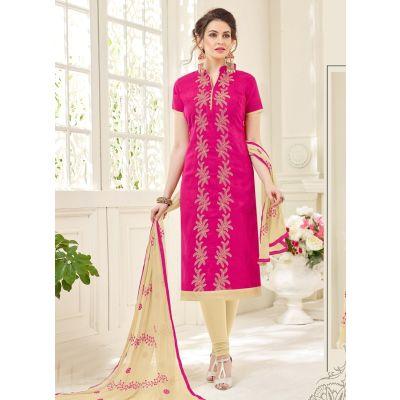 Pink color Casual Salwar Kameez-Jacquard Salwar Kameez