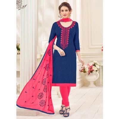 Blue color Casual Salwar Kameez-Jacquard Salwar Kameez