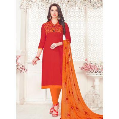 Women Slawar Kameez Red Color Straight Suits