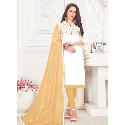 Women Slawar Kameez White Color Straight Suits