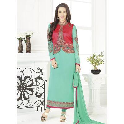 Women Salwar Kameez Green color Jacket Style