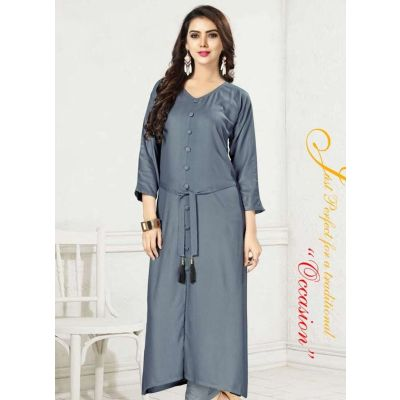 Women Ready Made Kurti Grey Color Formal
