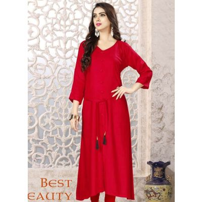 Women Ready Made Kurti Red Color Formal