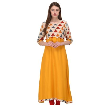 Women Ready Made Kurti Yellow Color Formal