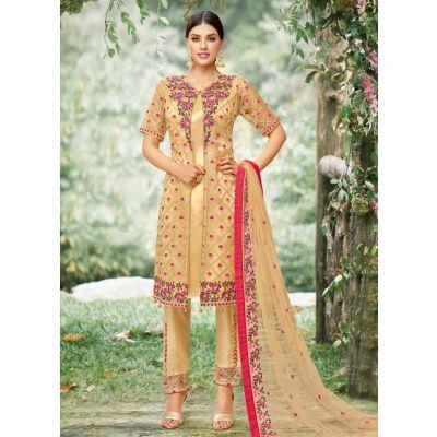 Women Salwar Kameez Beige color Straight Suits