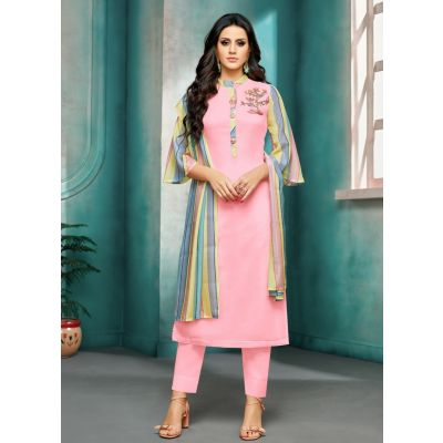 Women Salwar Kameez Pink Color Straight Suits
