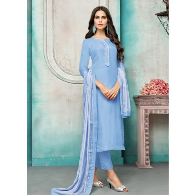 Women Salwar Kameez Blue Color Straight Suits