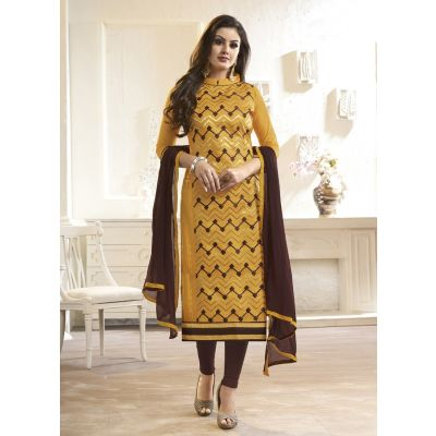 Women Salwar Kameez Yellow Color Cotton