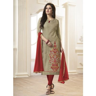 Women Salwar Kameez Grey Color Cotton