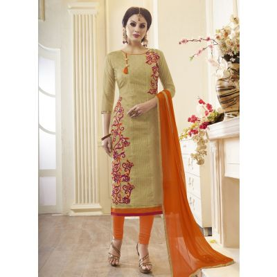 Women Salwar Kameez Biege Color Cotton